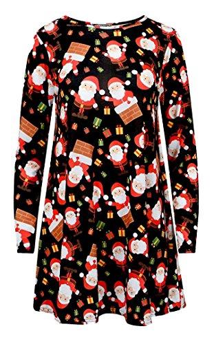 FK Styles Damen Kleid Gr. Small, Santa Block Swing Dress