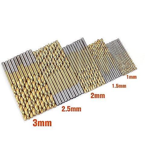 50 Pcs drill bit set HSS 4241 Titanium Coated Twist Drill Bits Tool Set Metric System drill bit woodworking punte
