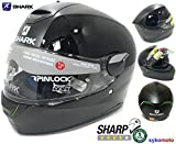 SKWAL SHARK MOTORRAD HELM INTEGRALHELM LED BELEUCHTUNG PINLOCK BEREIT ECE GENEHMIGT ACU SHARP 4 STERNE MIT GARANTIE DOPPELVISIER SCHWARZ (M (57-58 CM))