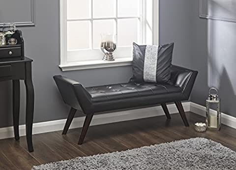 Home Source - Black Faux Leather Bench Window Seat Upholstered