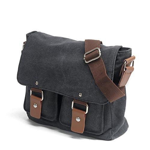 Y-DOUBLE Mens/Womens Herren Canvas Freizeit Schultertasche Retro Umhängetasche Handtasche Schultasche Messenger Bag Schwarz-1