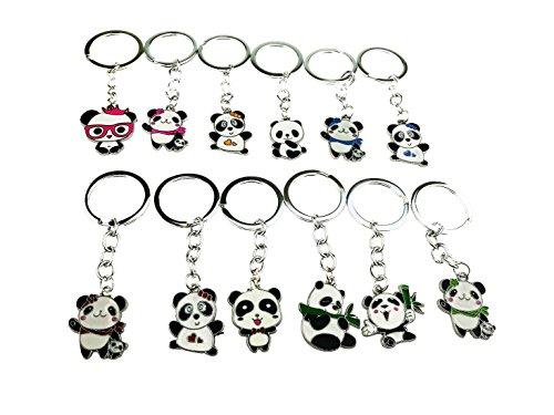 Set mit 12 süßen Mini-Cartoon-Schlüsselanhängern aus Metall, chinesischer Nationalschatz- / Panda-Thema, für Kinderspielzeug, Verzierungen, Souvenirs
