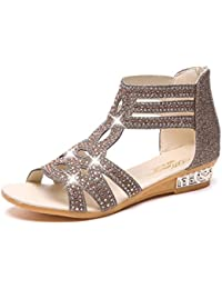 MEIbax CLEARANCE SALE Frauen Damen Sandalen Keil Fischmund Sommer Chunky Holiday Roman Schuhe Flachen Sandalen
