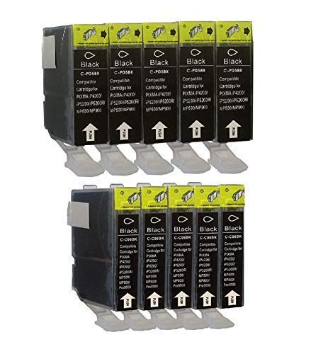 5/5 Druckerpatronen mit Chip für Canon Black PGI5, CLI8BK Pixma IP3300 IP3500 IP4200 IP4200IP4300 IP4500 IP5200 IP5200 IP5300 IP6600 IP6700D MP500 MP510 MP520 MP530 MP610 MP800 MP810 MP830 MP970 IX4000 IX5000 MX700 MX850 Pro9000 Schwarz (Pixma Mp970 Canon)