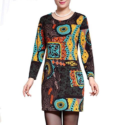 Robe Vintage MiniRobe Blouse Chemise Top Manches 3/4 Fleurie Imprimée Confortable et Elégant Jaune Marron