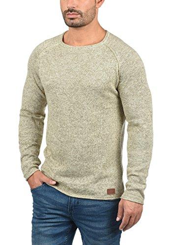 BLEND Dan Herren Strickpullover Rundhalskragen aus hochwertiger Baumwollmischung Meliert Bone White (70016)