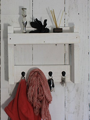 dekorie67 Schlüssel Regal aus Holz im Landhaus Stil weiß Vintage Shabby fertig montiert
