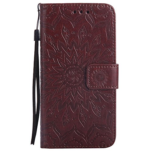Für Samsung Galaxy G530 Fall, Prägen Sonnenblume Magnetische Muster Premium Soft PU Leder Brieftasche Stand Case Cover mit Lanyard & Halter & Card Slots ( Color : Red ) Brown