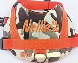 Hundegeschirr S M L Brustgeschirr mit Wunsch Namen bestickt Camouflage orange Wasserfest