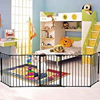 COSTWAY Baby Safety Playpen, Hearth Gate, Metal Fire Gate with Automatically Close Door, Room Divider, 305cm Fireplace/Pet Fence
