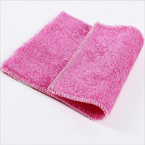 heelinna Superfine Bambus Faser Küche Reinigung Hadern Gericht Waschen Handtuch (Pink) (Stoff Poly-faser)