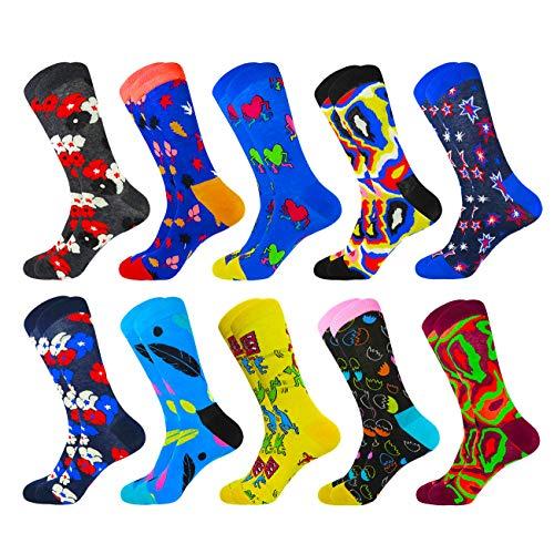HIWEAR Herren Kleid Bunte lustige Design Komfort gekämmte Baumwolle Crew Socks Pack (10PK-mix3) -
