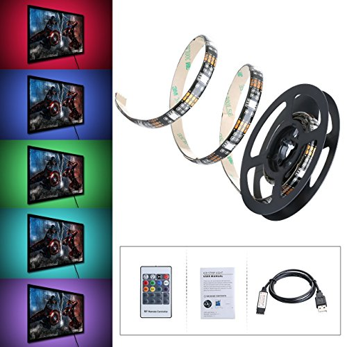 Tiras LED Iluminación 1m de VicTsing, 300 MP RGB Retroiluminado Multicolor Kit...