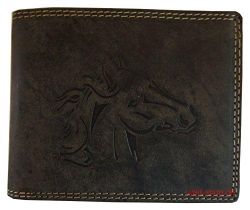 Geldbeutel Büffel Leder Pferd Hengst geprägt Wild Style