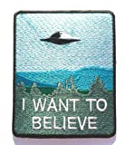 I Want a Believe parche (9cm) bordado hierro o coser insignia Retro Souvenir DIY disfraz X-Files–Póster de película Alien extra terrestre Flying Saucer nave espacial