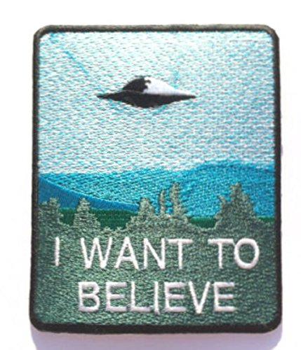 Diy Aliens Kostüm (I Want To Believe Patch Nähen oder Bügeln (9cm) bestickt Badge Retro Souvenir DIY Kostüm X-Files Poster Alien Extra Terrestrial Flying Untertasse Platz)