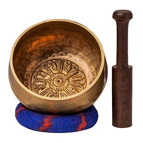 Die Ohm Store Ohm Store tibetischen Meditation Yoga Klangschale Set mit Klöppel und Kissen handgefertigt in Nepal -