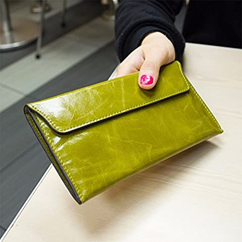 Corea del Sur proporciona la capa de cera de aceite señoras billetera de cuero largos money clip,Apple,verde