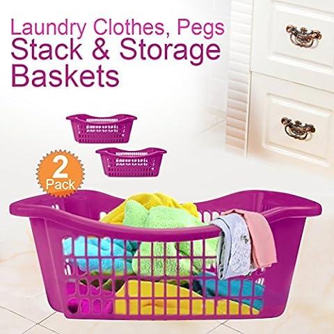 Lavanderia vestiti, Picchetti impilabile Baskets- Mensola, resistente plastica comodo facile e organizzata, Pink, 2 pezzi