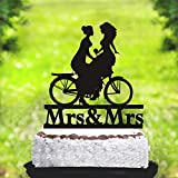 JeremyHar75 Décoration de gâteau de Mariage de même Sexe Lesbienne avec vélo, décoration de gâteau de fête de Mariage en Acrylique