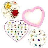 Oblique Unique® 36 Kinder Ringe mit Edelsteinen in Herzform Box Größe Einstellbar Kindergeburtstag Geschenk Mitgebsel Schmuck für Mädchen