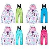 Kinder Winter Warme Skijacke Schnee Anzug, Wasserdichte Winddichte Maschine Waschbar Atmungsaktiv Hautfreundlich 360 ° Stereo Isoliert Verschleißfeste Warme Baumwolljacke für Skifahren und Snowboarden