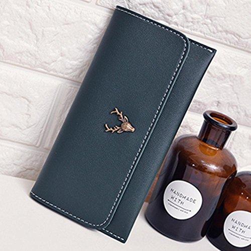 Portafoglio Donna, Tpulling Donna uso quotidiano delle frizioni borsa portafogli borsa della borsa della frizione di qualità (Black) Green