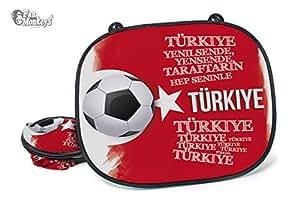 Türkei 2 tlg. Set Auto-Sonnenschutz – Fanartikel Sonnenblende Sonnenschutzblende für Seitenscheibe für Kinder Baby