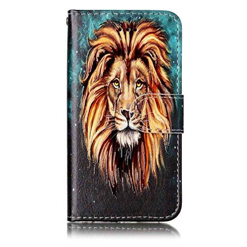 iPod Touch 5 / Touch 6 Hülle, Chreey [Geprägte Muster] Kratzfestes Flip Case Ledertasche Magnet Klapp Etui Handyhülle [Löwe] + Brieftasche Kartenfächer Ständer