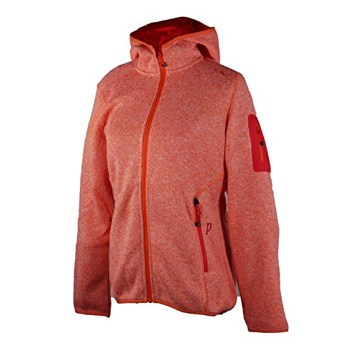 Fleecejacke Sondermodell Kiara Strickfleece Outdoor Jacke CMP für Damen mit Fleece-Innenausstattung und weicher Kapuze- Gr. 42, Aranciata-Bianco-orange (Kapuzen-fleece Orange)
