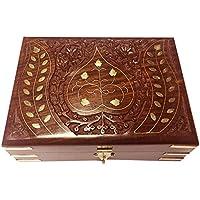 Scatola di legno gioielli, Foglia design intaglio intarsio Storage Box, Vintage Box 8X5 pollici.Regalo il vostro San Valentino giorno speciale