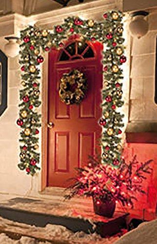 ln rot und gold geschmückte OUTDOOR Tannengirlande / beleuchtete Girlande mit 40 energiesparenden LED - Leuchten - Gesamtlänge der Zuleitung 500 cm - Gesamtlänge der geschmückten Tannengirlande 270 cm - Gesamtlänge Tannengirlande und Zuleitung zusammen ca. 770 cm - inklusive Außen - Trafo -- für Außen - und Innensteckdosen geeignet - für den Innen - und Aussen - Bereich geeignet - Winter Advent Weihnachten - aus dem KAMACA-SHOP (Outdoor Beleuchtete Girlande)