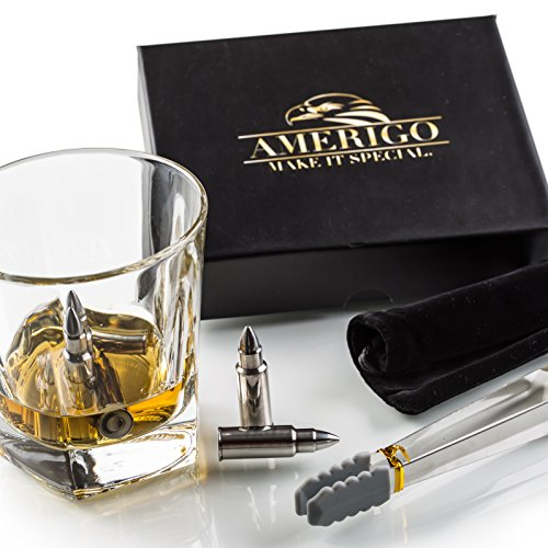 Amerigo Premium Edelstahl Whisky Steine Geschenkset – Hohe Kühltechnologie - Wiederverwendbare Whiskey Eiswürfel – 6 Whisky Kugel – Whiskey Bullet Geschenkset - Whisky Patrone + Edelstahlzange (Wasser-kühler Warenkorb)