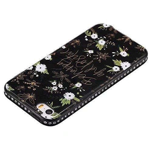 EKINHUI Case Cover Blumen-gedrucktes Muster weiche schwarze TPU Gel-Shell-Stoßdämpfer-Abdeckung [Schock-Absorbtion] Glänzender Bling-Funkeln-Rhinestone-rückseitige Abdeckungs-Fall für iPhone 5s u. SE  D