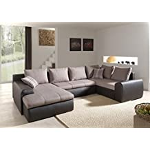 mobilier deco canap dangle panoramique convertible couchage 2 personne beige et marron - Canape Panoramique Convertible