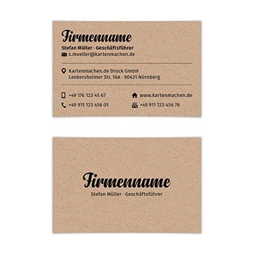 100 x Visitenkarten individuell Business Karten 300g/qm 85 x 55 mm - Kraftpapier Look