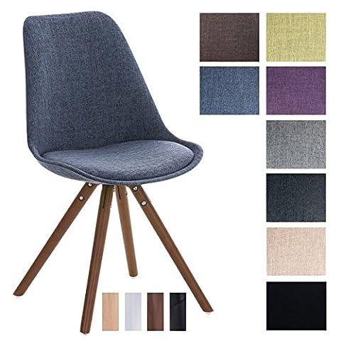 CLP Design Stuhl PEGLEG mit Stoff-Bezug, Retro Design, Esszimmer-Stuhl gepolstert, Sitzhöhe 46 cm Blau, Holzgestell (Stoffbezug Für Stühle)