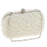 MagiDeal Damen Handtasche Abendtasche Clutch Abend Party Brauttasche Shouler Beutel Der Braut Prom Handtasche mit Künstliche Perlen