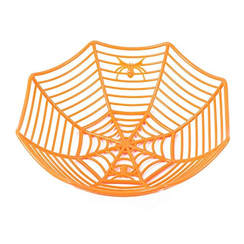 TAOtTAO Fruit Basket Spinnennetz Früchte Süßigkeiten Kunststoff Korb Spiderweb Halloween Party Decor Küche (Orange) (Für Halloween Deko-papiertüten)