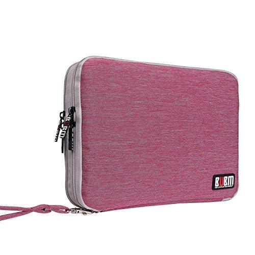 BUBM Universal Reisetasche mit Doppelschichte Organisator Tasche Tragetasche für Elektronisches Zubehör Batterie und Ladegrät (Groß, Rosarot und hellgrau)