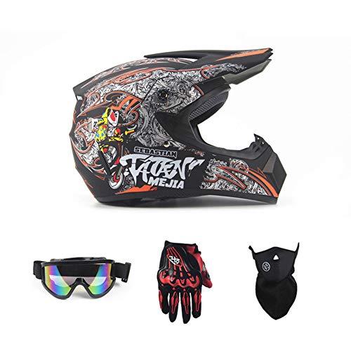 Sanqing Motorrad-DH-Helm, Outdoor-Jugend-Kinder-Dirt-Fahrradhelme, Full Face Motocross Offroad-Rennsporthelm (Handschuhe, Brille, Maske, 4-teiliger Satz),Black,M