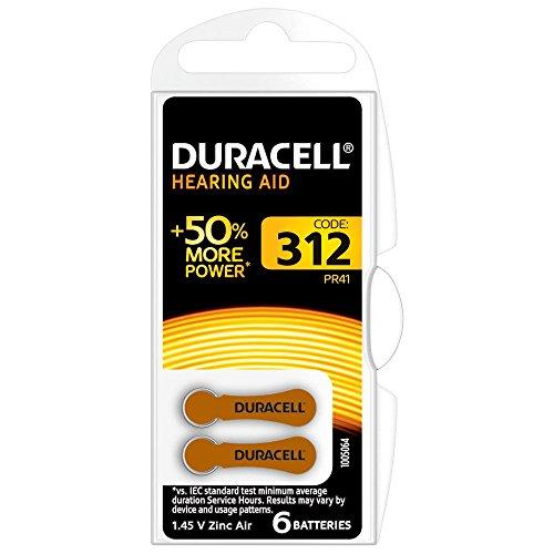 Duracell Easytab/Activair Typ 312 Hörgerätebatterie Zinc Air P312 PR41 ZL3, 60 Stück