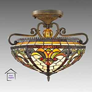 Real Stained Glass Tiffany Semi Flush Ceiling Light