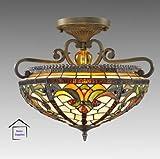Echte Tiffany Deckenlampe, Buntglas