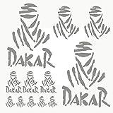 Autodomy Pegatinas Dakar Pack de 15 Unidades para Coche o Moto (Plata)