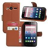 Alcatel Pixi 4 (4 Zoll) Hülle, HualuBro Premium PU Leder Wallet Flip Schutzhülle Tasche Case Cover mit Karten Slot für Alcatel Pixi 4 (4 Zoll) 4034D Smartphone (Braun)