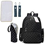 #5: Motherly Stylish Babies Diaper Bags for Mothers with 1 Bottle Bag + 1 Diaper Changing Mat + 1 Set of Stroller Hooks (Black,White Dot)