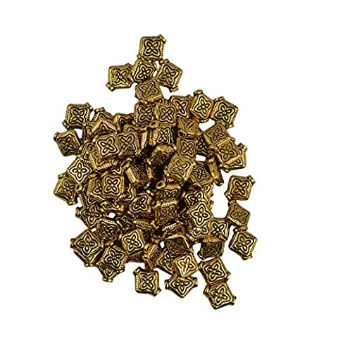 MagiDeal 100pcs Flat Square Flower Spacer Bead Jewelry Making Findings Vintage Gold
