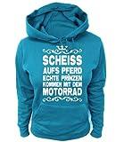 Artdiktat Damen Hoodie - Scheiß auf´s Pferd - Echte Prinzen kommen mit dem Motorrad Krone, Größe XXL, blau