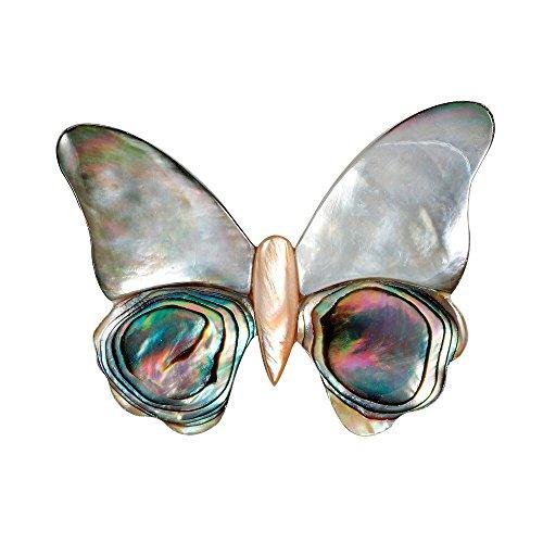 HIDOUYAL Silber Schmetterlinge aus Muscheln Broschen Pins Hochzeit Broschen Clip Pin für Frauen Kleid Schal